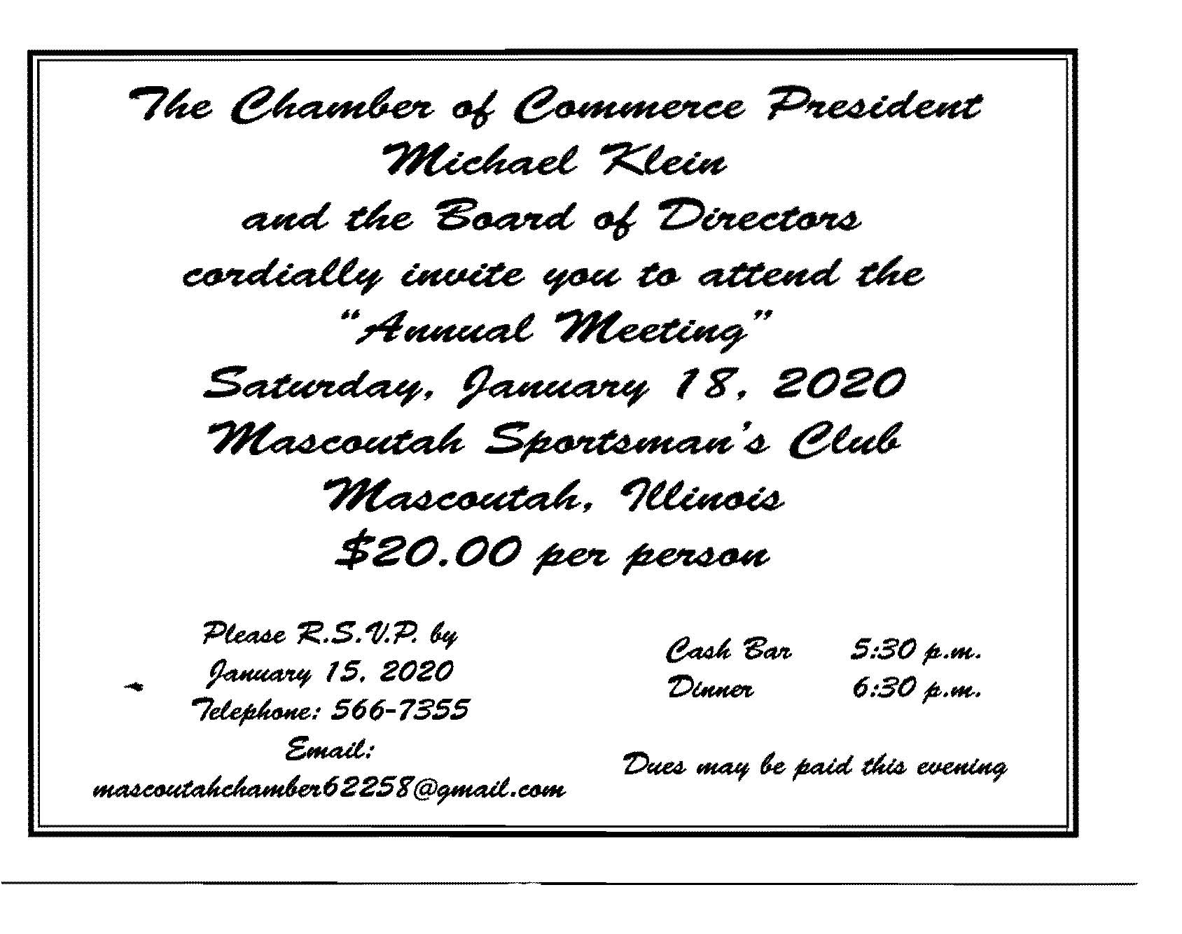 Mascoutah Christmas Parade 2020 2020 Chamber Annual Dinner and Meeting